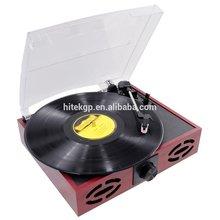 retro vinyl record player with recording
