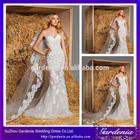 2014 New Arrival Elegant Mermaid Strapless Half Sleeve Lace Appliqued Long White Wedding Dress(WD-025)