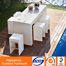 UV-Resistant Rattan Home Bar Furniture Set, Pipe Bar stools wholesale, outdoor bar table and chair