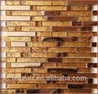 new design strip metal mix glass mosaic tile