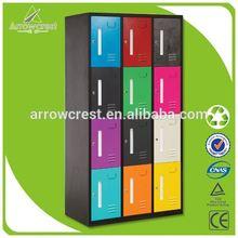 New design colorful 12 compartment door kids locker bedroom furniture