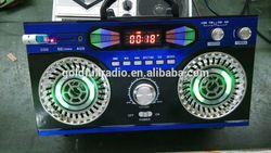 China New Arrival Multimedia USB SD Disco Light Portable Digital Clock Radio