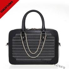 Black tote bag   italian designer leather handbag   laser cut leather purse