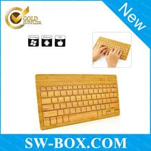 2014 New Ultra Thin Wireless Bamboo Keyboard, Bluetooth Keyboard with USB Port