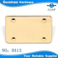 Gold fashionable square metal tags for handbags
