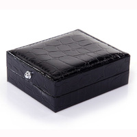 GERKIA cufflinks box black cuff links bag simulated alligator hide skin cufflink leather