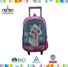 17'' 3D EVA cartoon kids school trolley bagin the shape of cat