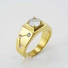Wholesale 316L Stainless Steel Men's Wedding Cube Zircon Gold Rings