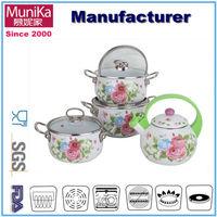 Enamel cookware set and non-stick frying pan/Ceramic casserole coated non-stick pan pot set/Carbon steel Enamel pot