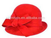 2015 New Design Girls Wool Felt Cloche Hat with amazing Bow