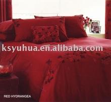 adult bed sheet - YH6126 heat cut hydrangea (red)
