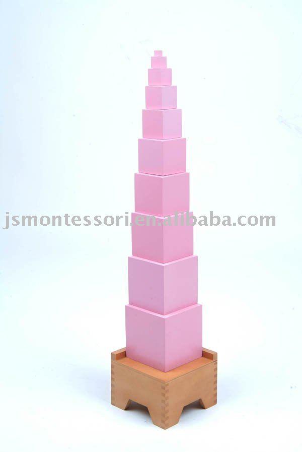 material montessori juguetes de color rosa de la torre
