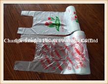 HDPE transparent plastic printed t-shirt bag on roll
