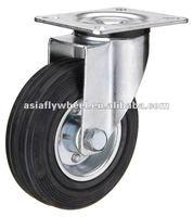 45 European type steel core black rubber swivel industrial caster wheel