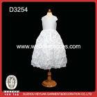 2014 pure white V-Neck sleeveless full-length ball gown flower girl dress