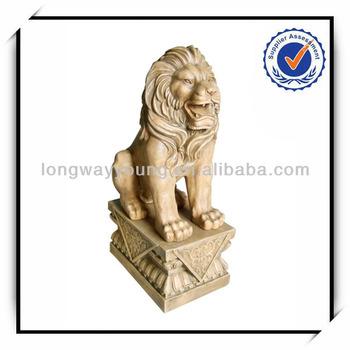 36 Inches ourdoor bronze color fiberglass lion statue with pedestal