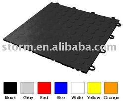 Sizzle PP Double Coin Pattern Interlocking Garage Floor tile-black