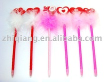 2013 Valentine's day PVC heart and lips feather pen