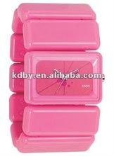 Wide band pink ribbon elastic plastic bangle watch