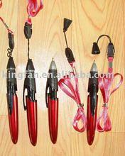 Lanyard plastic pen (lanyard rope on top)