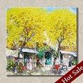 La aldea de paisaje pintura al óleo pintada a mano decoración de hogar arte de la pared de imágenes, el otoño del paisaje pintura al óleo sobre lienzo, caliente venta al por mayor