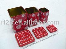 Square Christmas gift metal box set 3