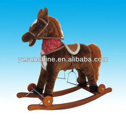 plush rocking horse on wheels for kids