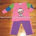 Pamuk spandex giyim kümesinin chidren çocuklar triko bs-425 kız kazak ve pantolon set