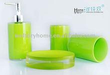 Beautiful Green Polyresin bathroom accessories set, tumbler/soap dispenser/soap dish/toothbrush holder