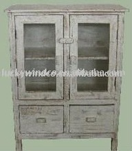 Antique French White Painted Old Wood Furniture