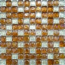 سمك ساحة الفسيفساء الزجاجية 18mm نمطخلط الألوان بلاط الموزاييك والزجاج الكريستال الفسيفساء المستخدمة في الجدار والكلمة