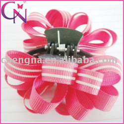 Stripes Pattern Curly Hair Bow With Hair Claw Hair Accessory (CNCHF-144)