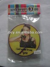 room car paper air freshener with beautifull girls logo