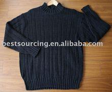 Laine acrylique nylon, 5gg tricoté, mocka manches longues col côtes hommes d'hiver chandail bs-563