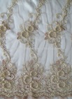 polyester tulle with ribbon cord embroidery fabric with 3mm sequins embroidery for dresses