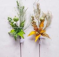 Artificial Velvet Poinsettia Flowers for Christmas Decoration