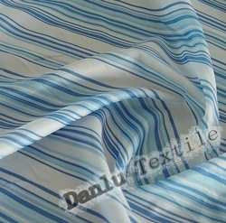 Polyester Navy Blue and White Stripe Taffeta Fabric