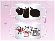 Hot color changing porcelain mug for valentine's day
