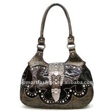 2012 newest fashion lady handbag in black and pewter color