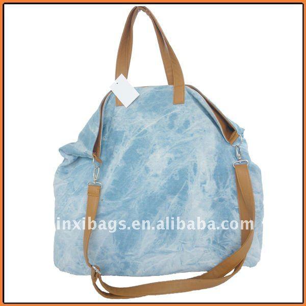 caliente venta de bolsos de mano china yiwu fábrica de mezclilla azul bolsos de mano para las mujeres