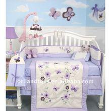 6pcs purple print flower baby crib bedding