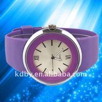 2014 Simple fashion flat band women violet watch
