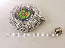 Rhinestone silvery crystal stainless steel hip flask