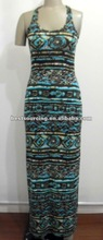 fashion summer sleeveless dress modal spandex 180g/sqm knit jersey dress screen printed long dress BS-1254