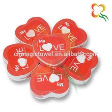 Valentine gift heart shape compressed towel
