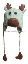 2012 children latest fashion winter popular cute knitted ear flap animal cap