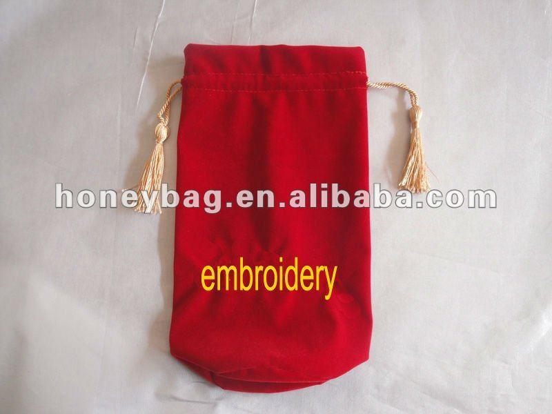 velvet gift bag with tassels,embroidery wine bag