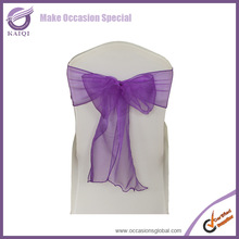 purple lycra sheer organza chair cover sashes bow for wedding decoration