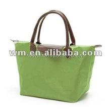 Hot sale foldable green nylon tote bag for women