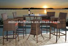 MINUO most fashional patio bistro bar furniture Aluminum rattan wicker outdoor bar stool